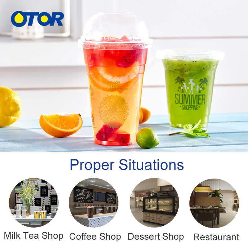 OTOR Free Shipping 50pcs 16oz Disposable Plastic Cups with Flat or Dome Lids for Juice Coffee Milky Tea Party Weddings Supplies