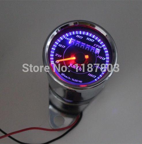 Universal Motorcycle Dual Odometer Speedometer Gauge 12 V LED Backlight Signal Light Dirt Sports Street Bikes