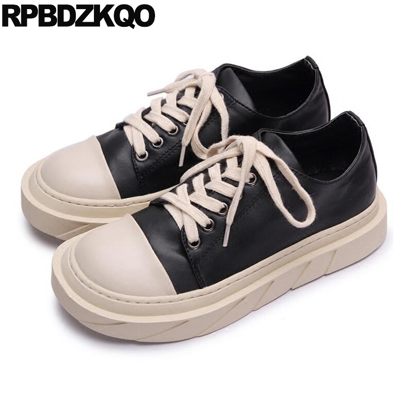 Women Elevator Thick Sole Creepers Ladies Lace Up Beautiful Flats Shoes Size 35 Sneakers Platform Harajuku Black And White Round
