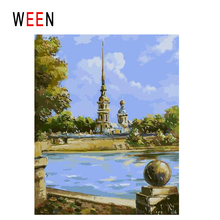 WEEN Indian Tower Diy Painting By Numbers Abstract Lake Temple Oil On Canvas Cuadros Decoracion Acrylic Home Decor