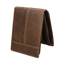 цена на KEVIN YUN fashion vintage men wallets genuine leather card holder purse wallet with coin pocket