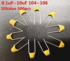 Монолитный многослойный керамический конденсатор, 500 шт., 10 значений в комплекте, 0,1 мкФ ~ 10 мкФ 104 154 224 334 474 684 105 225 475, набор в ассортименте, 5,08 м...
