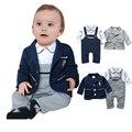 Bebê Menino Roupas 2017 Primavera Conjuntos de Roupas de Bebê Menino Cavalheiro Romper Do Bebê Crianças Terno Do Bebê Roupas Bebe Infantil Macacões