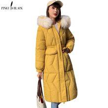 PinkyIsBlack 2019 Winter Jacket Women New Fashion Long Parkas Large Fur Hooded Jackets Coats Thick Warm Cotton Coat