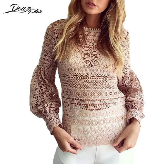 Sexy Blouses Roupa Mujer Long Lantern Sleeve Floral Embroidery Crochet O-neck Women Lace Top Shirt Perspective Geometry Blusas