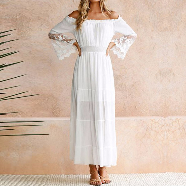UZZDSS הקיץ הקיצי ארוך נשים לבן חוף שמלת סטרפלס ארוך שרוול Loose סקסי כבוי כתף תחרה Boho כותנה מקסי שמלה