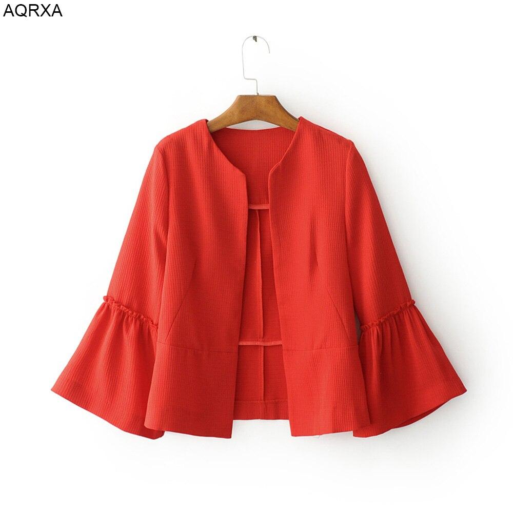 2017 Fashion Women   Basic     Jacket   Coat Short Simple Design Solid Color Three Quarter Flare Sleeve Thin Cape Outerwear Cardigan