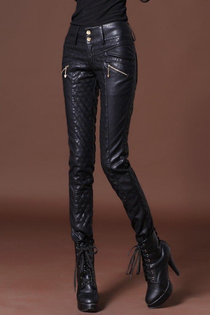 2019 di Modo Delle Donne pantaloni di Pelle moto pantaloni skinny a vita alta matita pantaloni più i pantaloni di ispessimento del cotone Femminile Cantante pantaloni - 2
