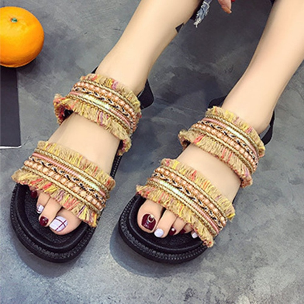 Trendy Korean Style Women Beach Sandals Peep Toes Women Shoes Flat Soled Female Sandals Casual Elastic Strap Students Shoes