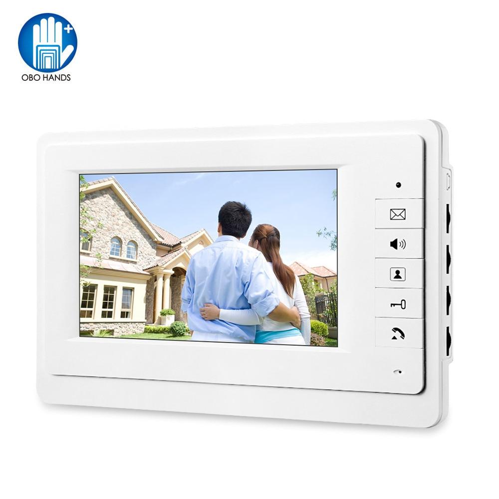 OBO Hands 7'' TFT-LCD Color Screen Video Intercom Doorphone Indoor Machine Video Doorbell Monitor 25 Ringtone For Home Villa