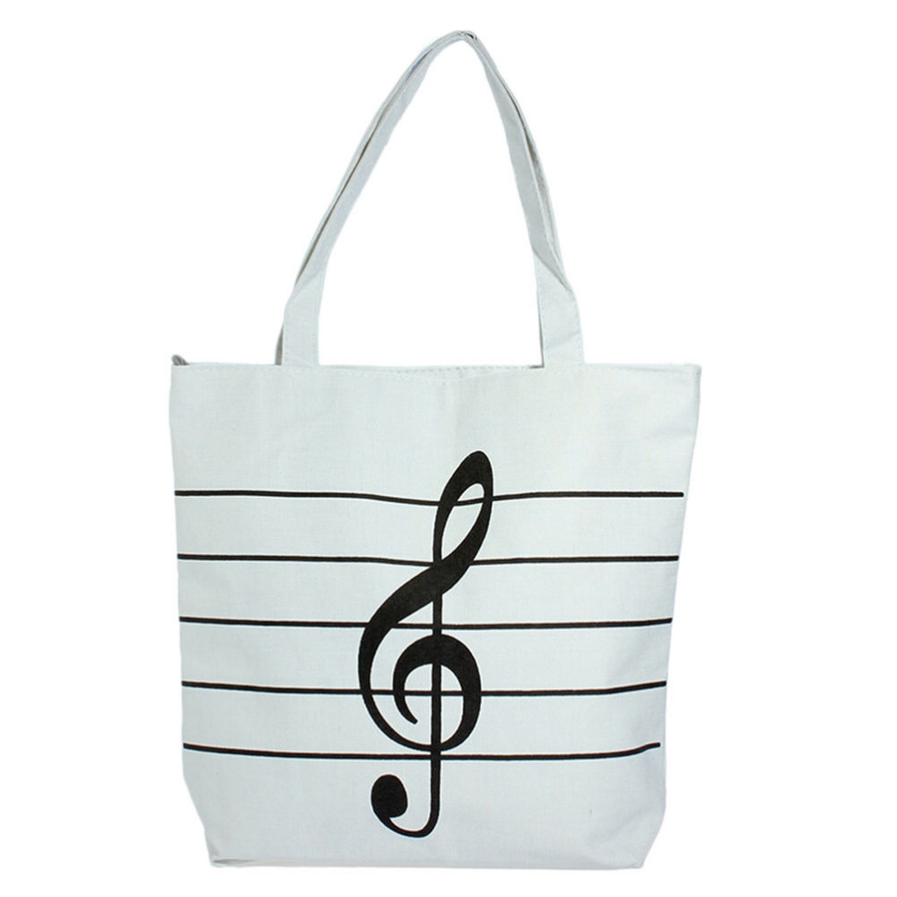 2Colors Shoulder Tote Shoulder Bags Girl Canvas Music Notes Handbag School Satchel Tote Shopping Bag