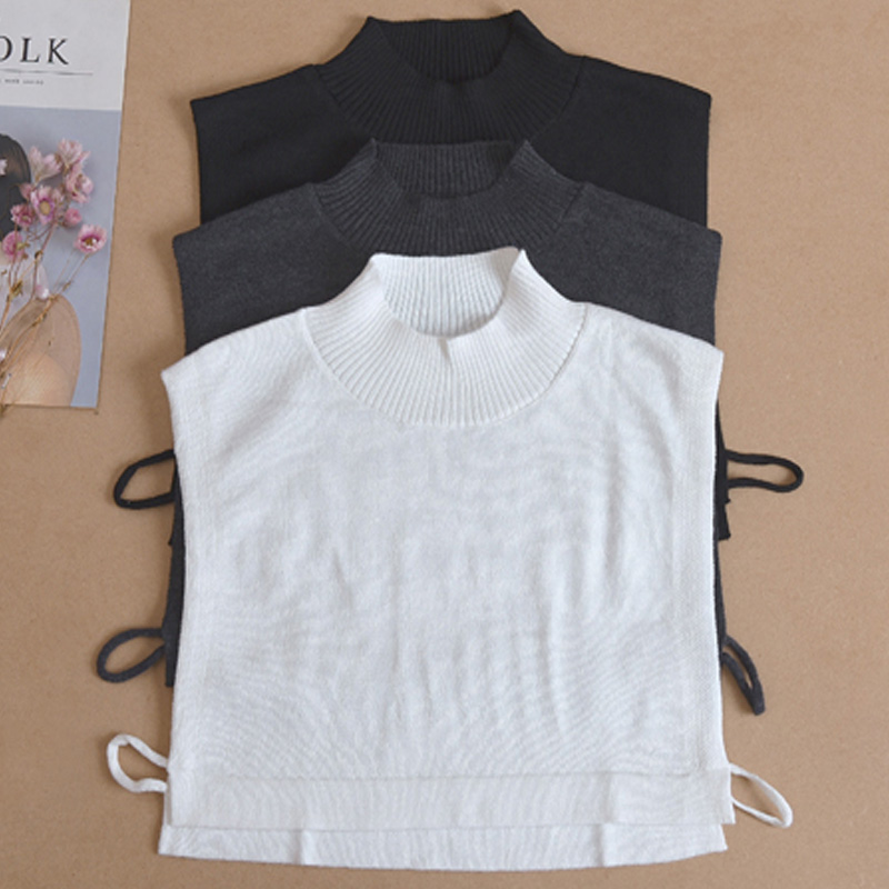 Fashion Apparel Vintage Detachable Knit Turtleneck Women Hedging Warm Collar Shirt Half-height Knitted Decoration Fake Collar