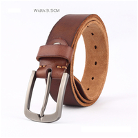 Trendy casual vintage men's belts Top layer leather pin buckle belts Full leather Single layer leather pin buckle belt Durable G