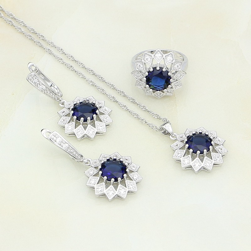 925-Sterling-Silver Jewelry Stones Flower Crystal Necklace/ring Women Blue Round White