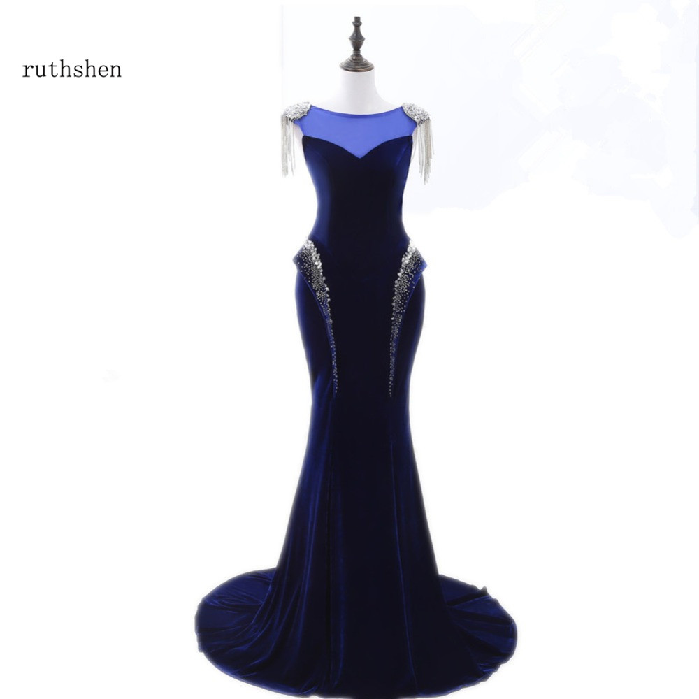 Ruthshen Navy Blue Mermaid Cheap Long Evening Dresses Cap Sleeves Sequins Beaded Bling Bling Women Formal Robe De Soiree