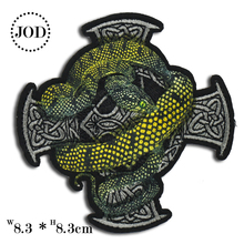 Snake Label Embroidered Patches for Clothing DIY Stripes Applique Sew on Clothes Stickers Sewing Badges Biker Parches JOD 3pcs pink flowers pearl clothes embroidered sew on patches for clothing diy stripes motif appliques parches
