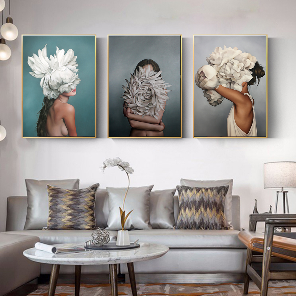 Posters And Prints Flowers Feather Women Oil Painting Canvas Wall Pictures For Living Room Home Decoration