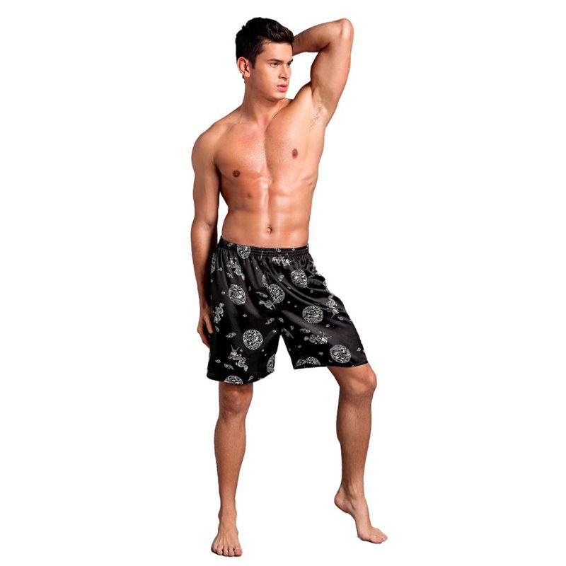 Summer  Men's Satin Silk Pijama Shorts Casual Loose Sleepwear Soft Boxer Underwear Solid Nightwear Underpants Pyjama Homme