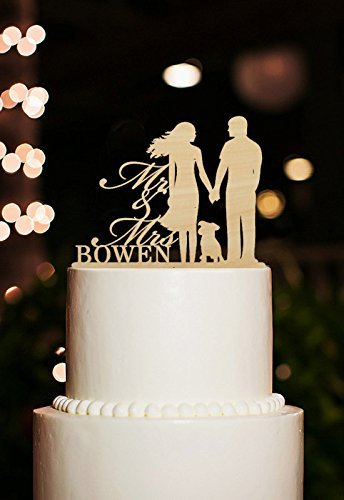 Wedding Decoration Cake Toppers Bride and Groom Romantic with Dog Mr and Mrs Cake Topper Rustic Wood Personalized Name Casamento