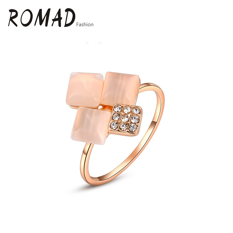 ROMAD Fashion Golden Square Stone Weddings Rings Golden trendy