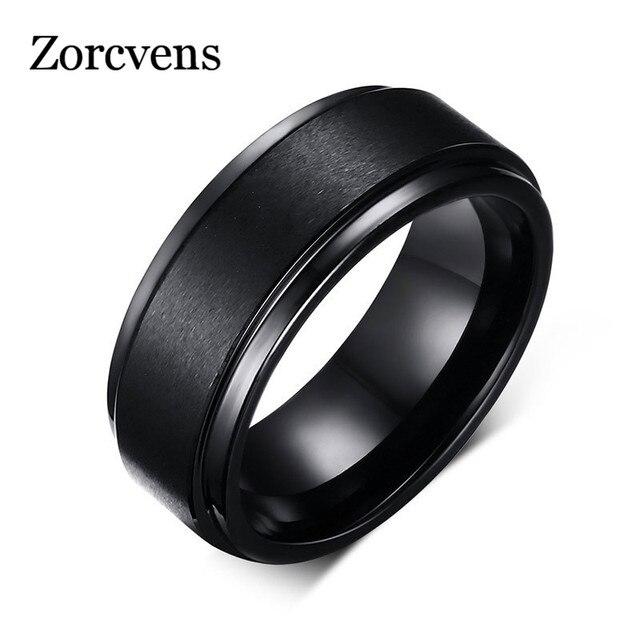 ZORCVENS 2019 Moda Preto Tungstênio Anéis de Noivado para Homens Jóias 8mm de Largura Texturizados Anéis Dos Homens Por Atacado