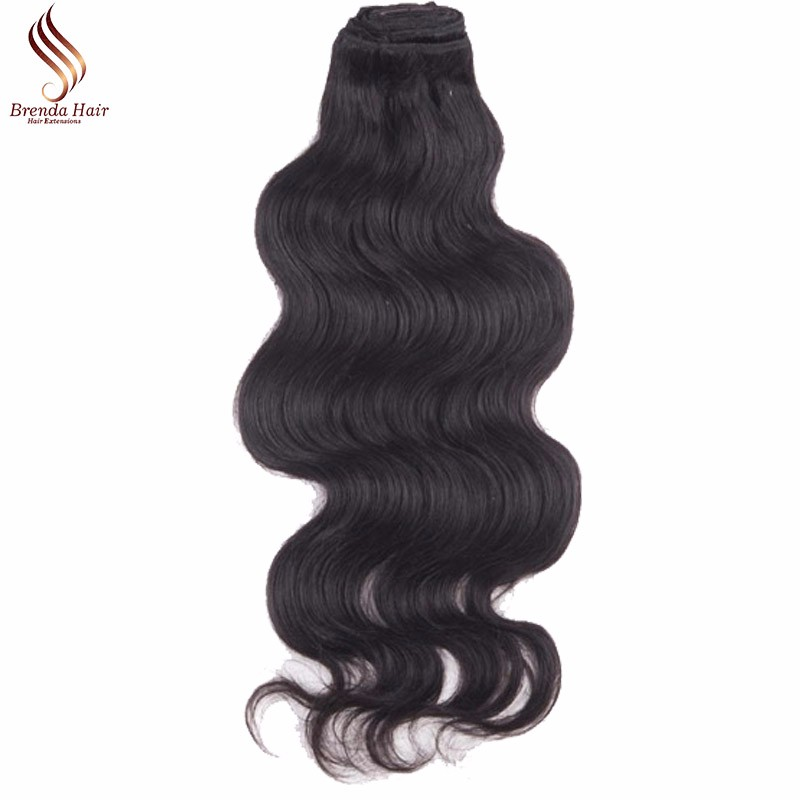 Wavy  Clip In Human Hair Extensions #1B Peruvian Human Hair Clip In Extensions African American Clip In Human Hair Extensions (3)