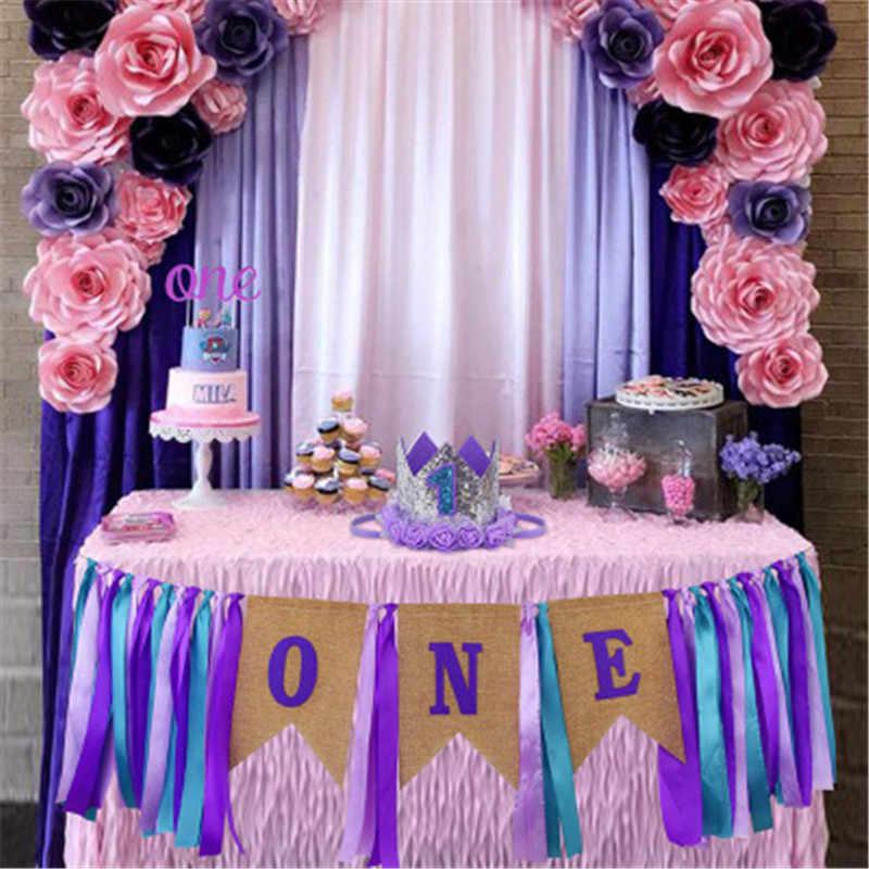 ใหม่เค้ก Topper และหมวกวันเกิด First 1st Birthday Party Boy Baby Burlap Highchair แบนเนอร์ Bunting ตกแต่ง