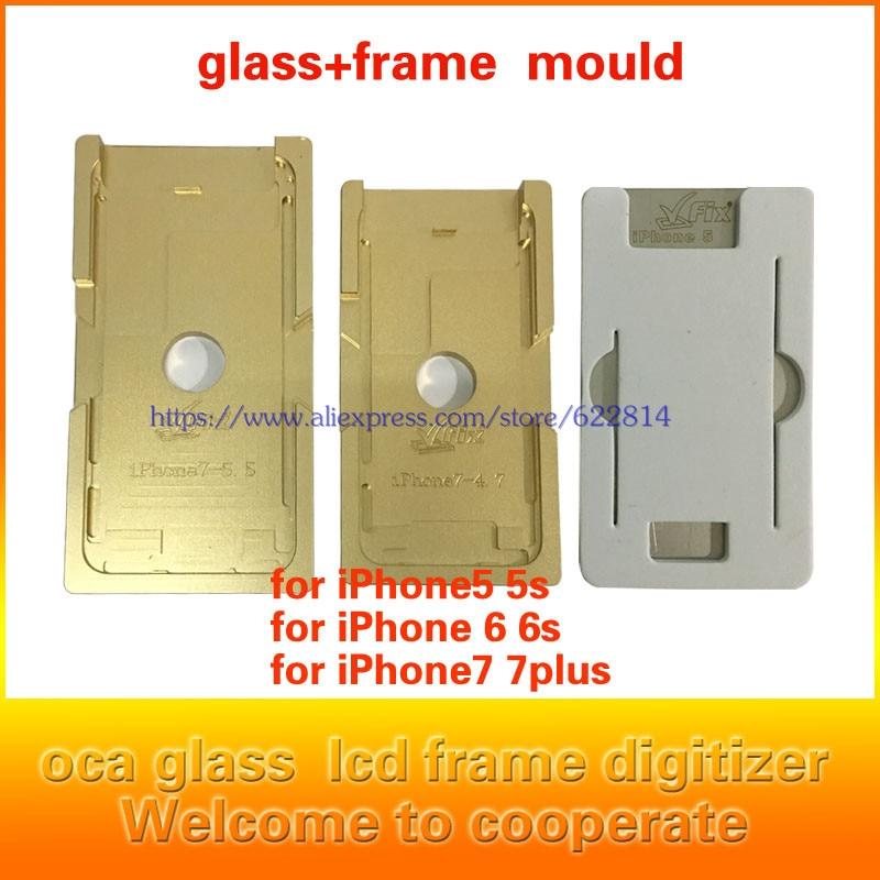 imágenes para Nuevo Molde exacto De Aluminio para el iphone 6/6 S 6 splus 6 plus 7 7 plus Laminador molde de metal para el vidrio frontal con marco Ubicación