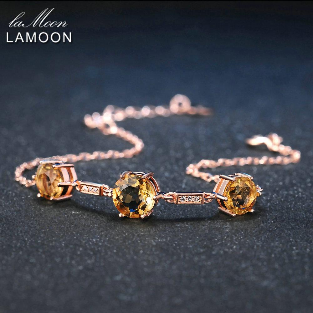 LAMOON 925 Sterling Silver Jewelry Amber Charm Bracelets Luxury Prong Setting 9mm&8mm Citrine Women Jewelry Chain Bracelet 2017