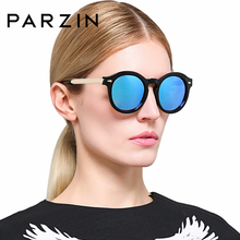 PARZIN Men Women Colorful Round Plastic Polarized Sun Glasses Retro So Real Brand Spectacles Illesteva With Case 9820