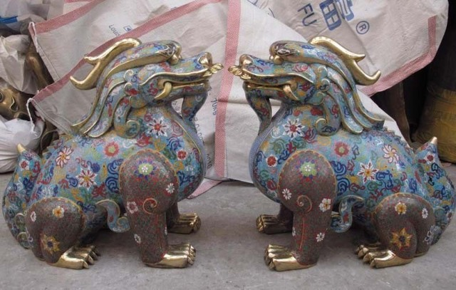 China Pure Bronze Copper cloisonne Feng Shui Evil Foo Dog Lion Kirin kylin Pair  free shipping