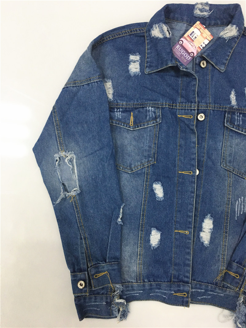HTB1aHocV3HqK1RjSZFEq6AGMXXae RUGOD Basic Coat Bombers Vintage Fabric Patchwork Denim Jacket Women Cowboy Jeans 2019 Autumn Frayed Ripped Hole Jean Jacket