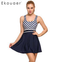 Ekouaer New 2017 Summer SwimWear Women Padded Striped Patchwork Skirted Bottom One Piece Swimdress Swimwear Female