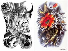 2 Pcs/set Waterproof Temporary Cool Flower Japanese Carp Tattoo Stickers