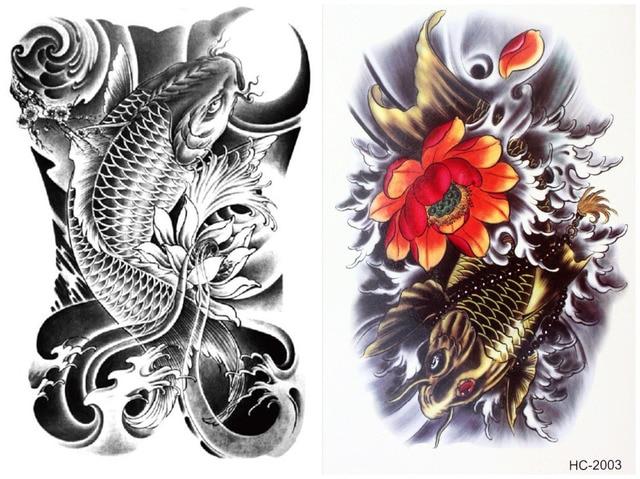 ff893488b 2 pcs/set Waterproof Temporary Cool Flower Japanese Carp Tattoo Stickers