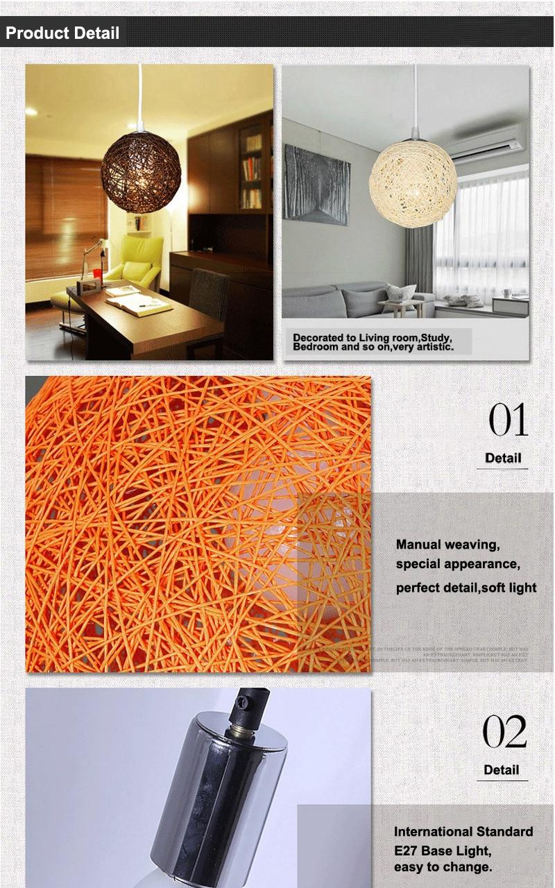 LED Pendant Lights Weaving Bamboo E27 Idyllic Rattan Hanging Lamps Colorful Lighting Dining Room Restaurant Linen Art Light2