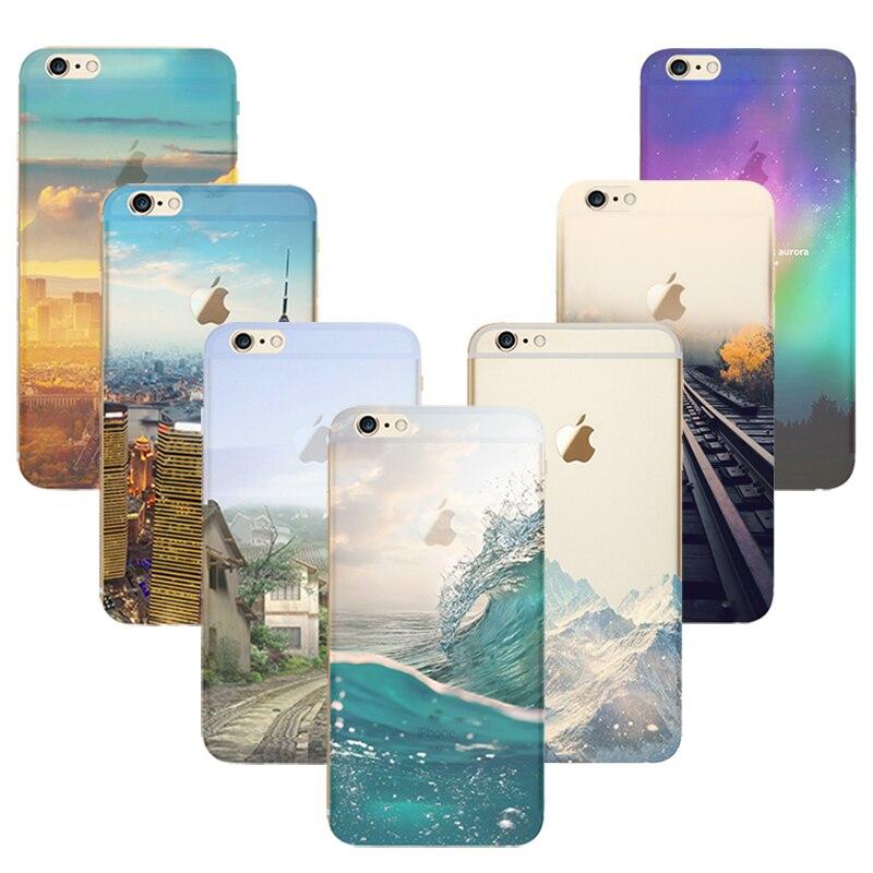 Casos de teléfono para apple iphone 6 6s case transparente diseño de paisaje de