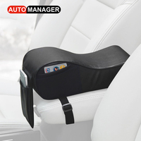 PU Leather Car Armrest Pad Memory Foram Auto Center Console Armrests Covers With 3 Pockets For