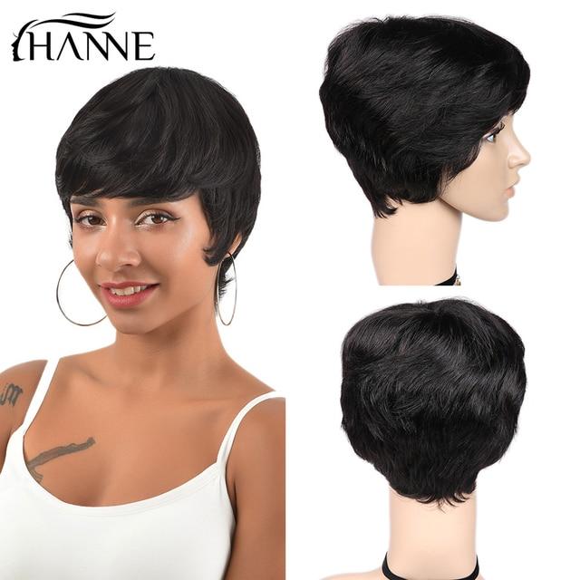 Hanne 毛 100% 人毛ウィッグわずかな波状かつらショート黒黒人女性グルーレスの remy 毛かつら