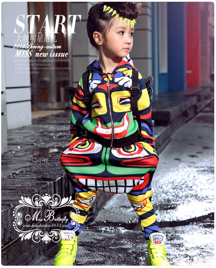 Kids set Costume Hip Hop harem dance pants Hoodie Jamaica Totem suits twinset