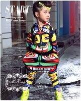 Maya trẻ em quần áo đặt múa Unisex Trang Phục Jamaica Totem kids Hip Hop quần harem & áo phù hợp với Bé Trai Hoạt Động twinset