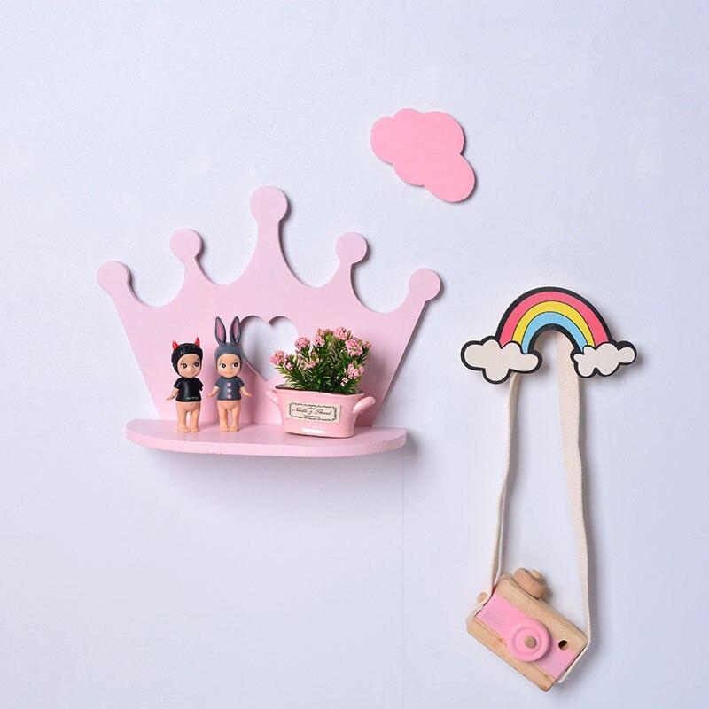 Decorative Storage Candy Color Shelf Wall Hanging Cloud Hook Storage Rack Nordic Bedroom Book Shelf Home Kids Room Decor Gift