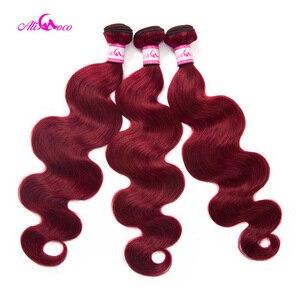 Бразильские волнистые волосы, волнистые, красные #99, бордовые, человеческие волосы, 1/3/4 пучка, Remy волосы, Али Коко, толстые волосы для наращив...