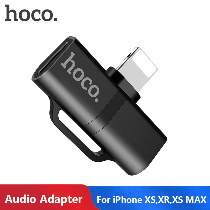 HOCO For Lightning Adapter 2 In 1 Charging Audio Adapter For IPhone Xs Max XR X 8 7 Charger Splitter Headphone Converter Adapter
