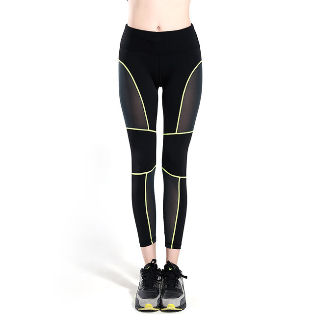 Sexy Women Line Mesh Breathable Compression Exercise Pants Sporting Leggings Fitness Dance Trousers Mallas Mujer Deportivas