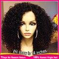 Hot Corto Rizado Pelucas de Cabello Humano Virginal Brasileño Rizado Del Frente Del Cordón Guleless pelucas Llenas Del Cordón Rizado Pelucas de Pelo Humano Para Las Mujeres Negras