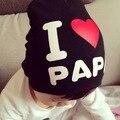 Me encanta la mamá y el papá del bebé del muchacho de la muchacha del algodón caliente de punto sombrero touca beanie cap lindo carta ganchillo recién nacidos infantil 0-3 años de edad