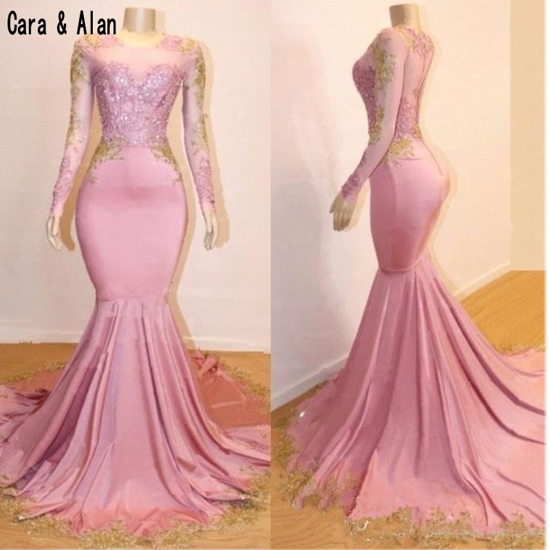 mermaid pink and gold prom dress