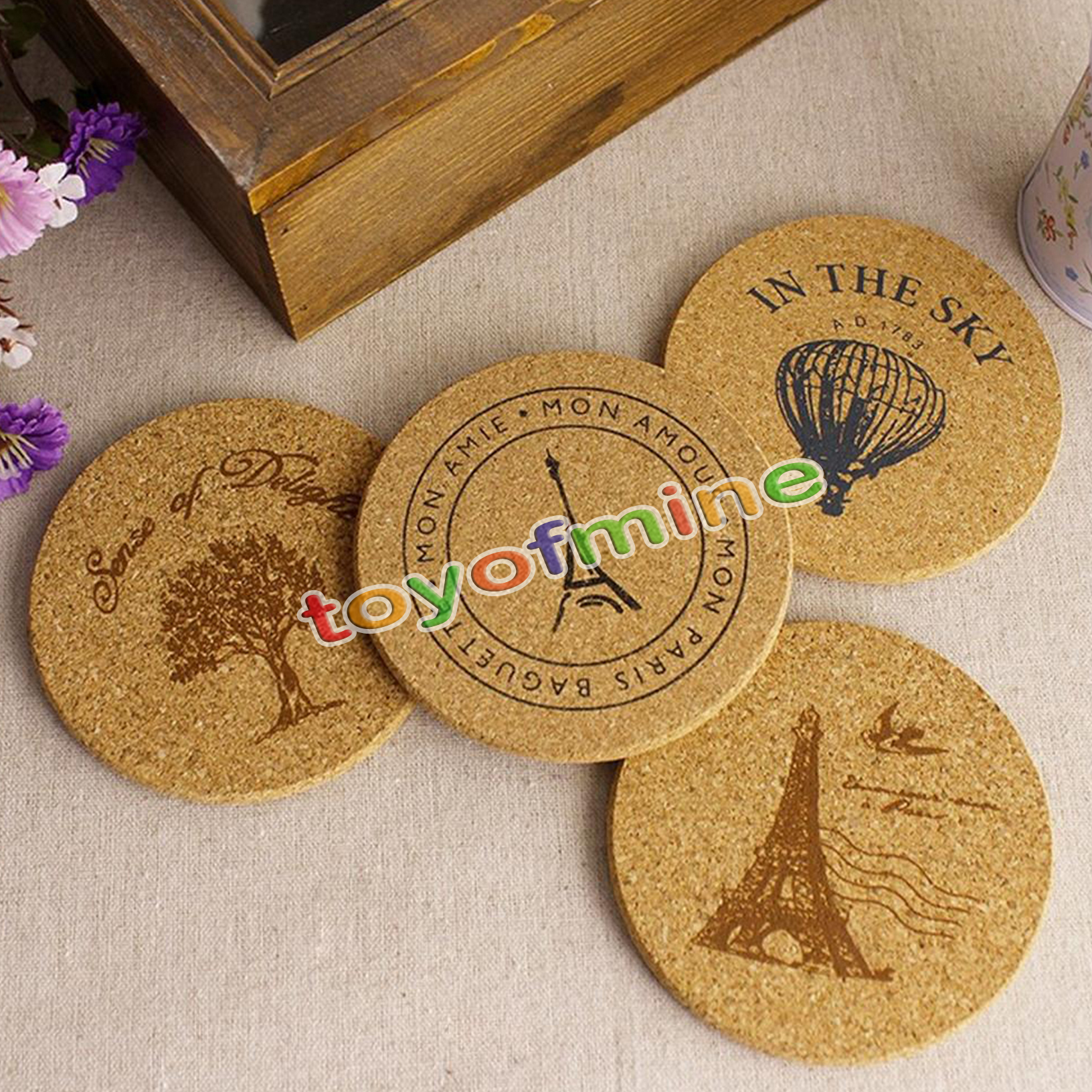 wooden drink coasters promotionshop for promotional wooden drink  - pcs cork wood drink coaster tea coffee cup mat japan style flexible tableheat resistant round drinks mats