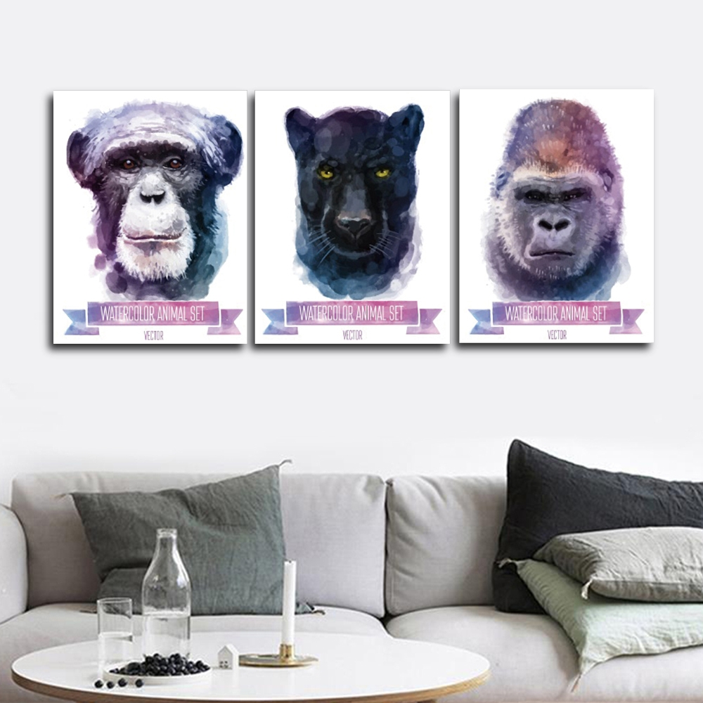 Chimpanzees Animals Wall Pictures Poster Print Canvas Painting Calligraphy Decor for Living Room Bedroom Home Decor Frameless in Painting Calligraphy from Home Garden